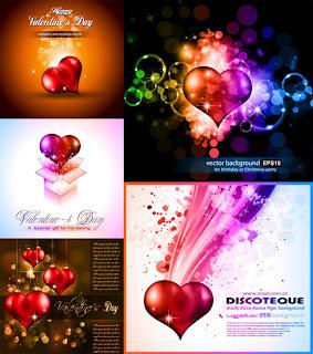 バレンタインデーの輝くハート素材 Valentines Day shine heart materials イラスト素材