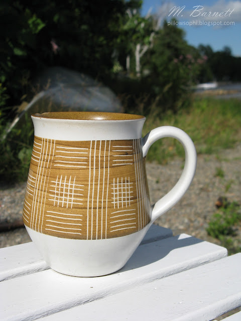Mid century Denby white and tan mug
