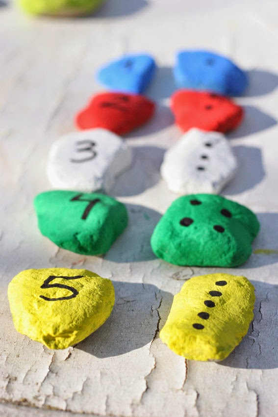Juego de números con piedras de colores6