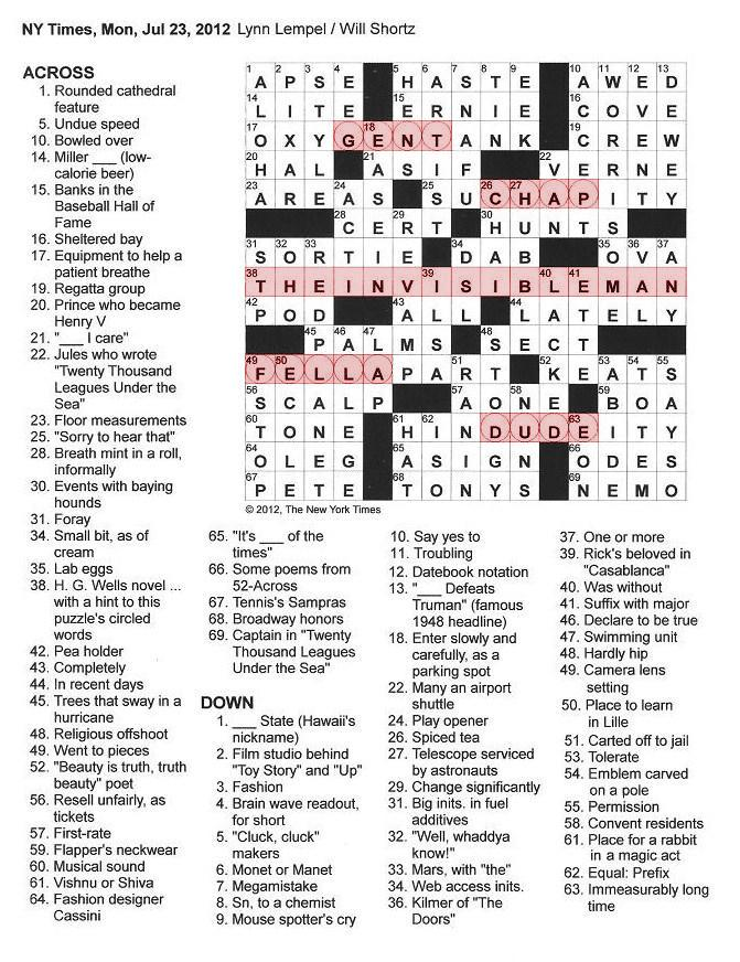 The new york times crossword in gothic july 2012 malvernweather Gallery