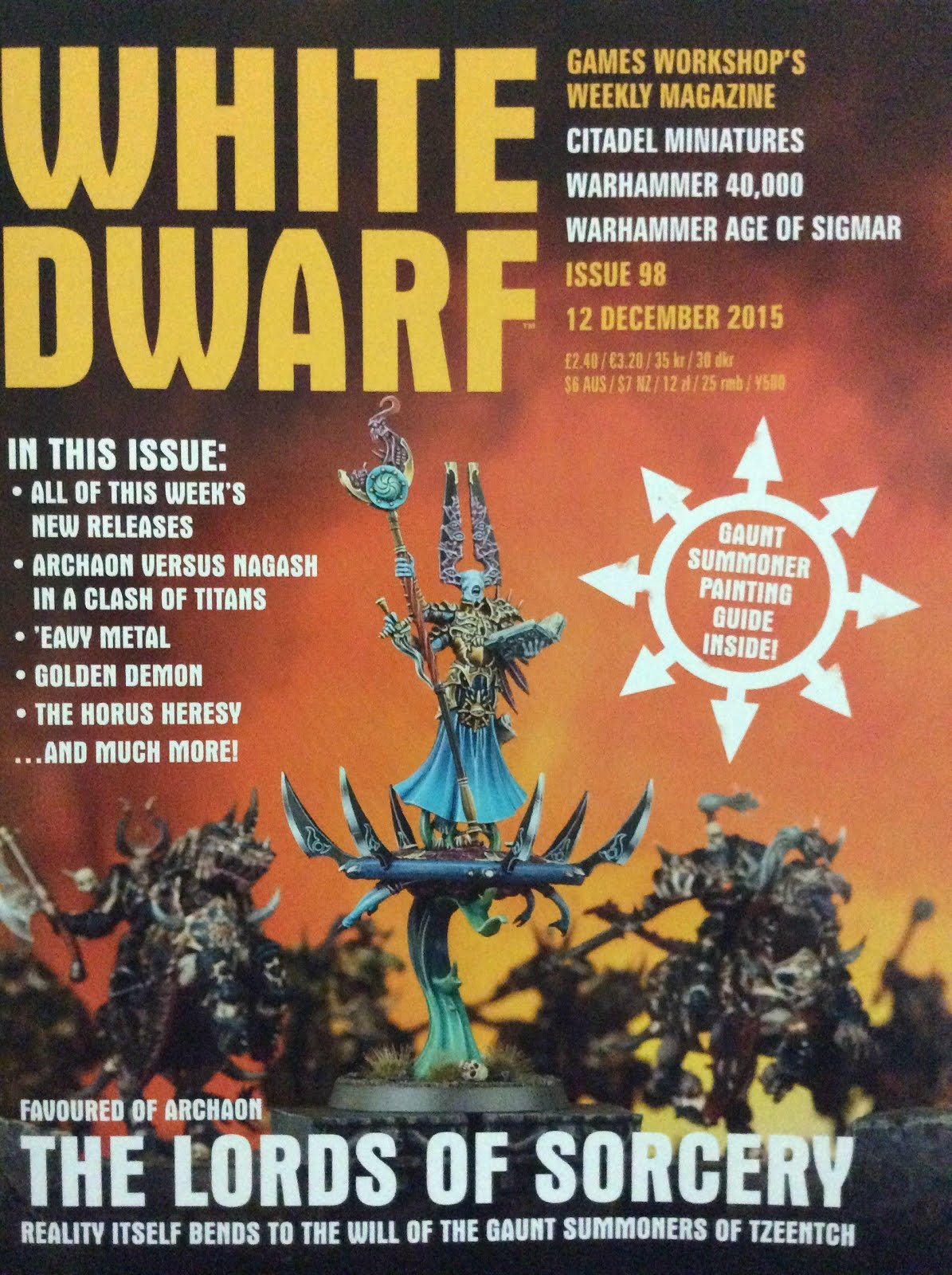 Portada del la White Dwarf 98 y el Lords of Sorcery