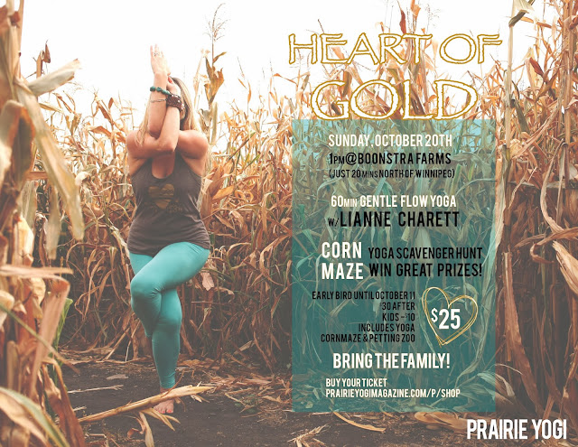 Winnipeg events, yoga events, lianne charrett, prairie yogi of the month, corn maze manitoba