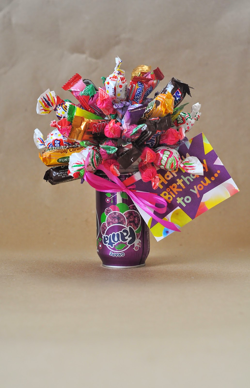 birthday candy bouquet with card