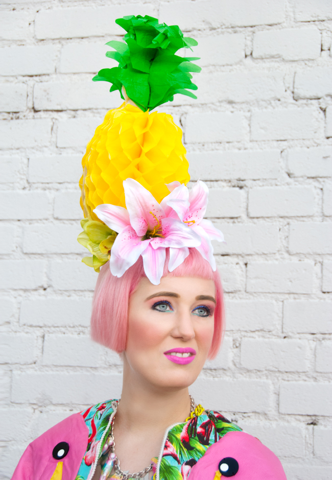 pineapple hat, pineapple fascinator, pink hair