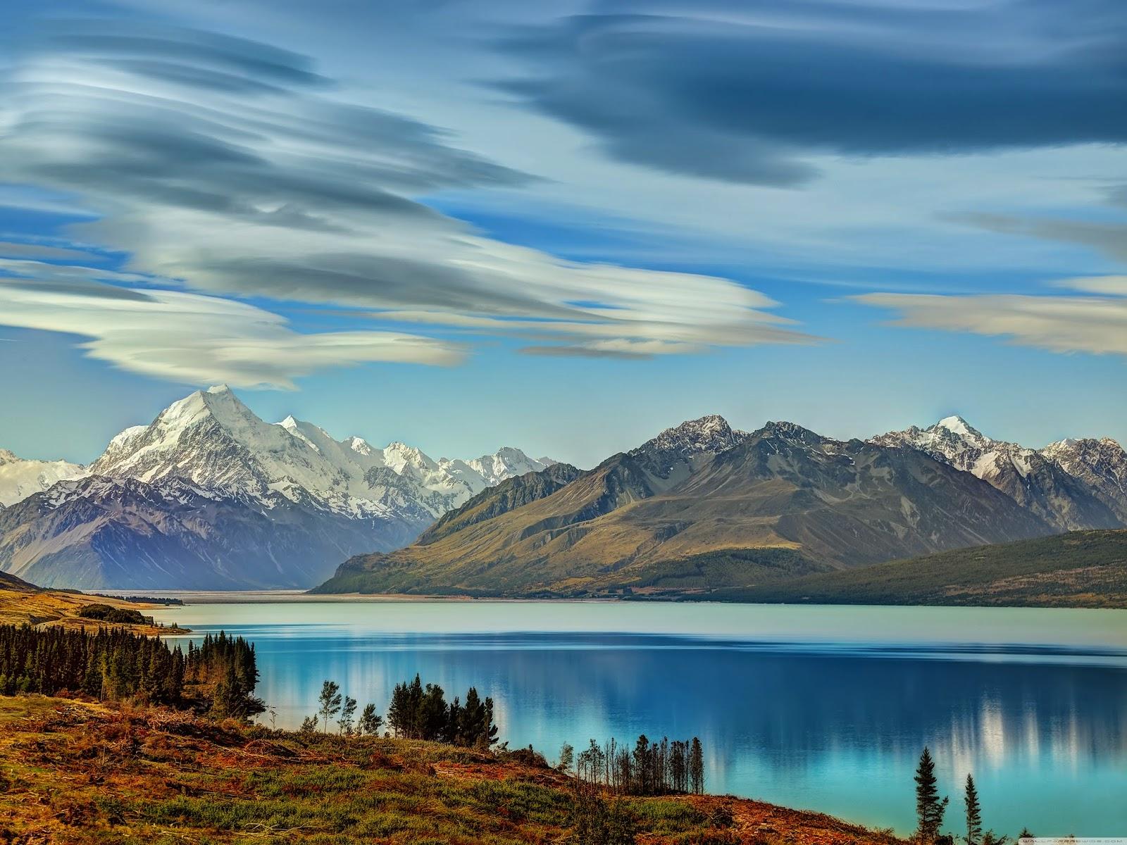The Road to Mount Cook along Lake Pukaki Wallpaper