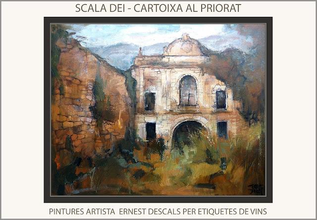 SCALA DEI-PINTURA-PRIORAT-CARTOIXA-PINTURES-PAISATGES-TARRAGONA-CATALUNYA-ETIQUETES-VINS-PINTOR-ERNEST DESCALS-
