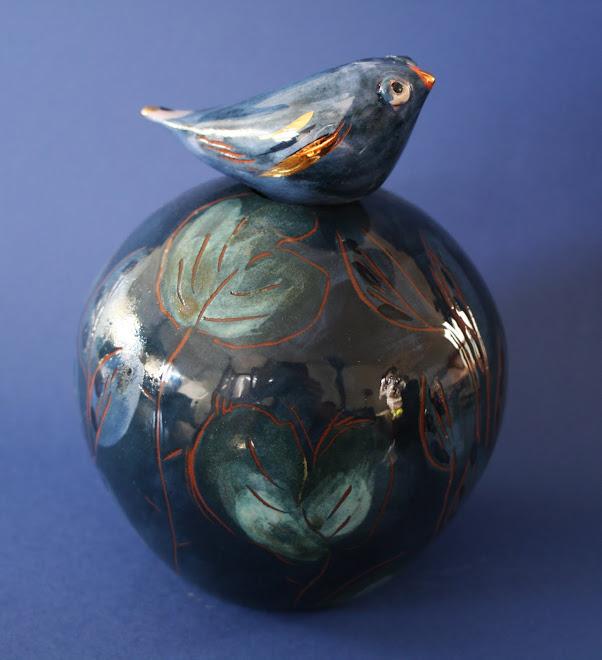 """Vase à oiseau """" Bleu nuit """""""