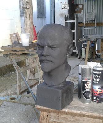 prop sculpture with reactive paint rust