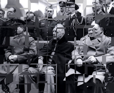 Roosevelt, Stalin and Churchill meet to carve up the globe, after world war 2, 1945