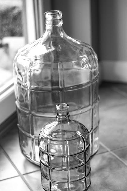 Glasflasche gross, Glasflasche klein,