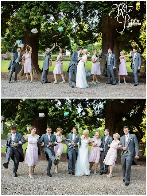 fun wedding party, wedding party photograph, eshott hall, eshott hall wedding, morpeth wedding, katie byram photography, vintage wedding