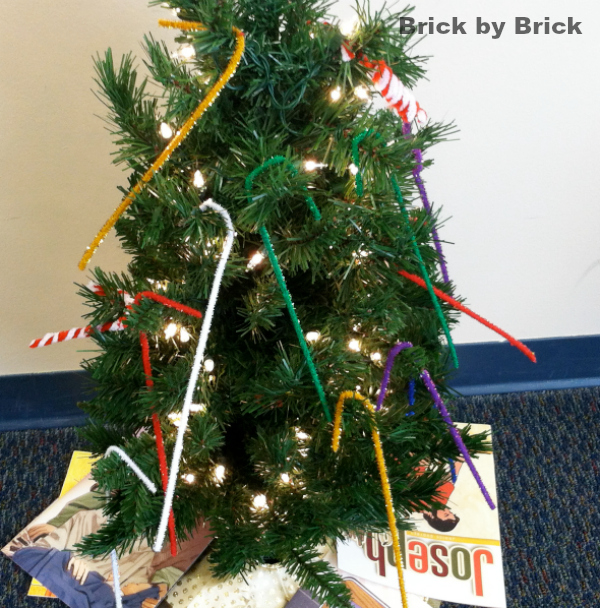 preschool decorated Christmas tree (Brick by Brick)