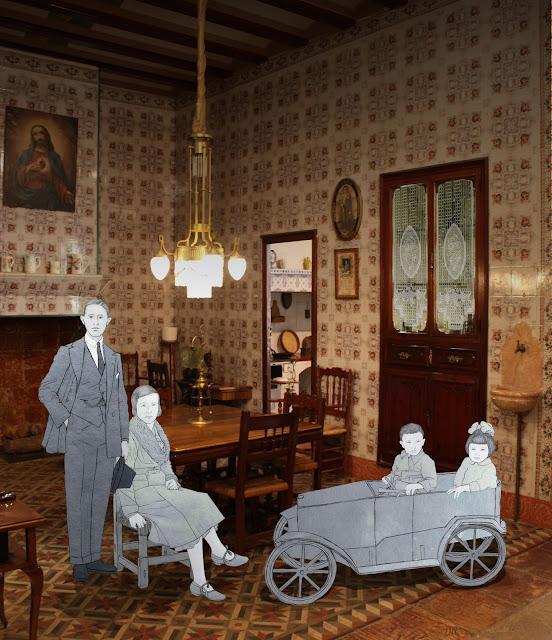 Comedor, casa, familia, burguesia, huerta, museo, Torrente, dibujo