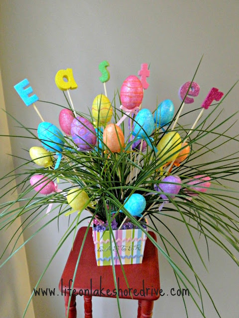 Easter Egg Spring Decor Arrangement, DIY, Easter bouquet, centerpiece