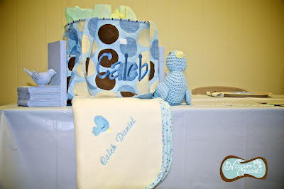 A bluebird themed baby shower with crochet accents by Niccupp Crochet.