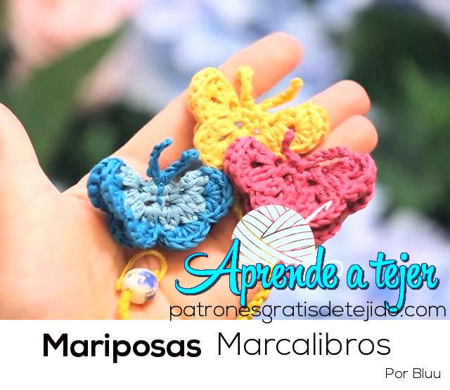 Marcalibro con forma de mariposa para tejer al crochet paso a paso