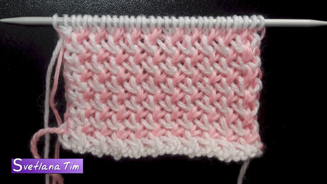Вязание на спицах узор из двух цветов