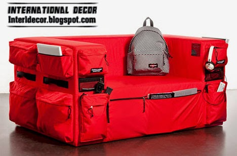 red Couch sofa with storage, living room storage furniture