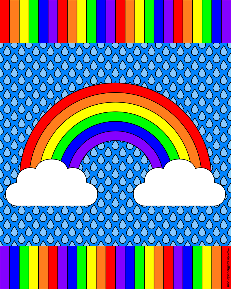 Rainbow coloring pages with words