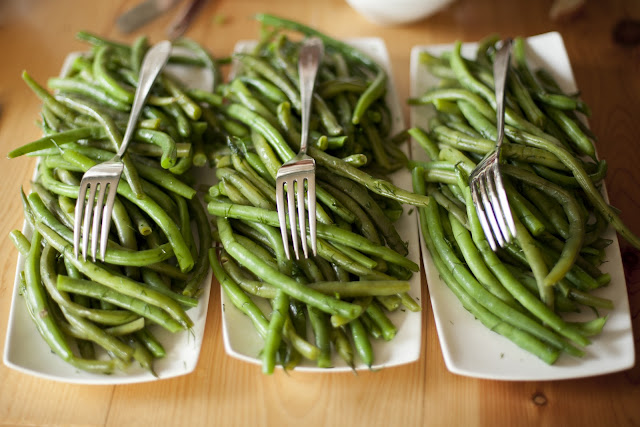 Green beans were one of the side dishes served