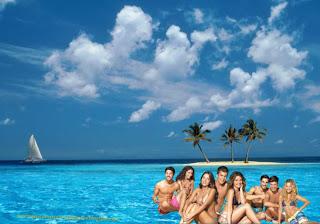 Wallpaper dos Morangos com Açucar Actores da série juvenil em fundo de tela Ilha Azul