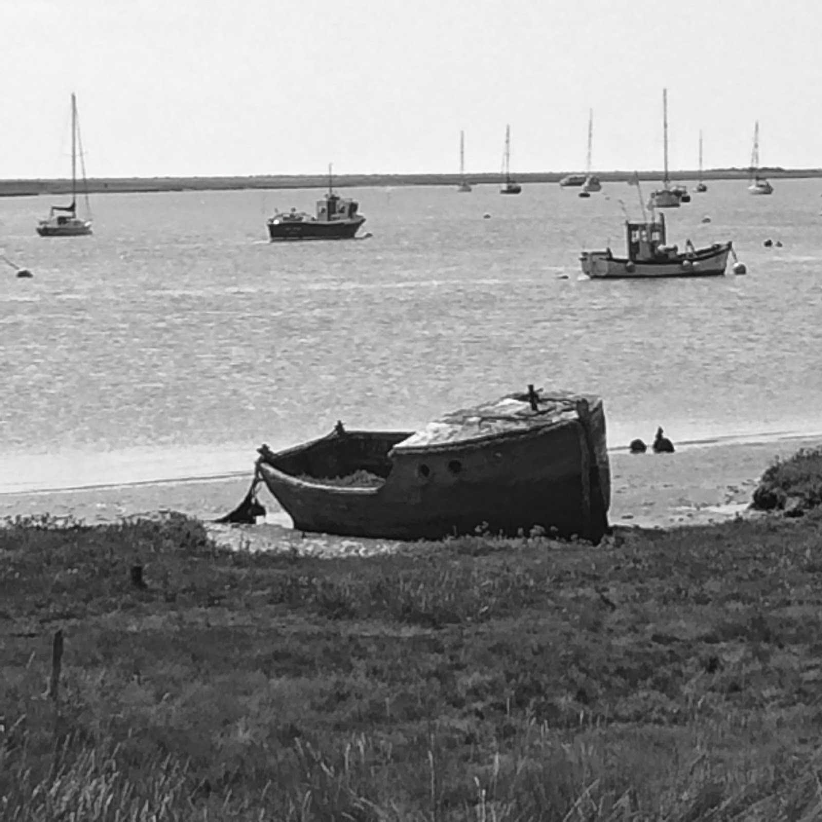 beached boat at Orford in Suffolk, UK