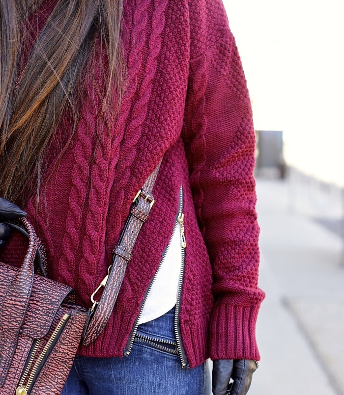 Romwe cable knit sweater with zippers, cable knit, lovers and friends LA moto skinny jeans, sam edelman t strap heels, 31phillip lim mini pashli bag, nastygal floppy hat, asos gloves, burgundy outfit, fashion blog, nyc, winter outfit, winter street style