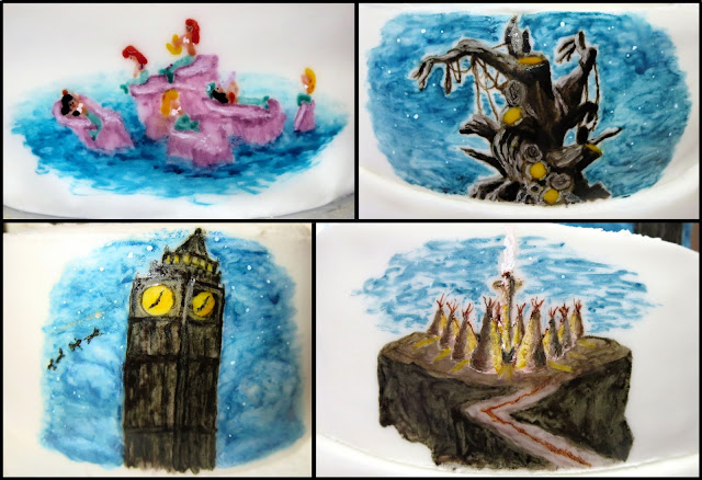 Hand Painted Peter Pan Cake - Collage of Scenes