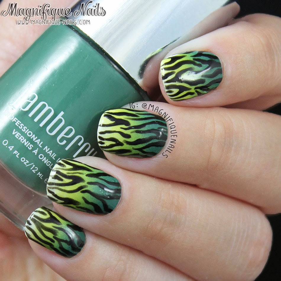 Green Ombre Zebra Print Nails