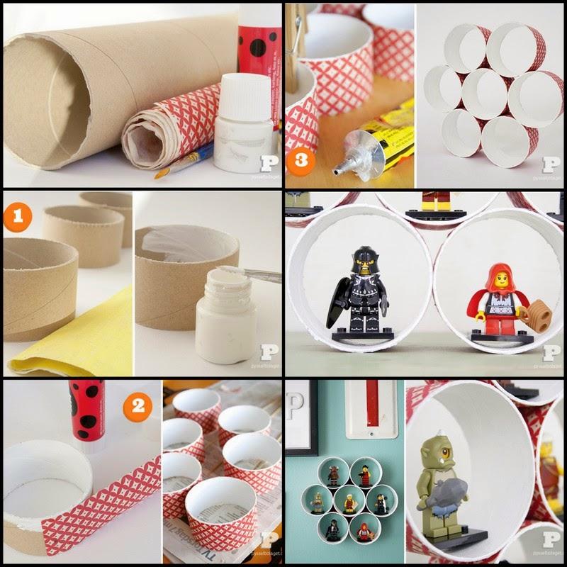 Membuat Rak Miniature Lego Dari Bekas Gulungan Tissue