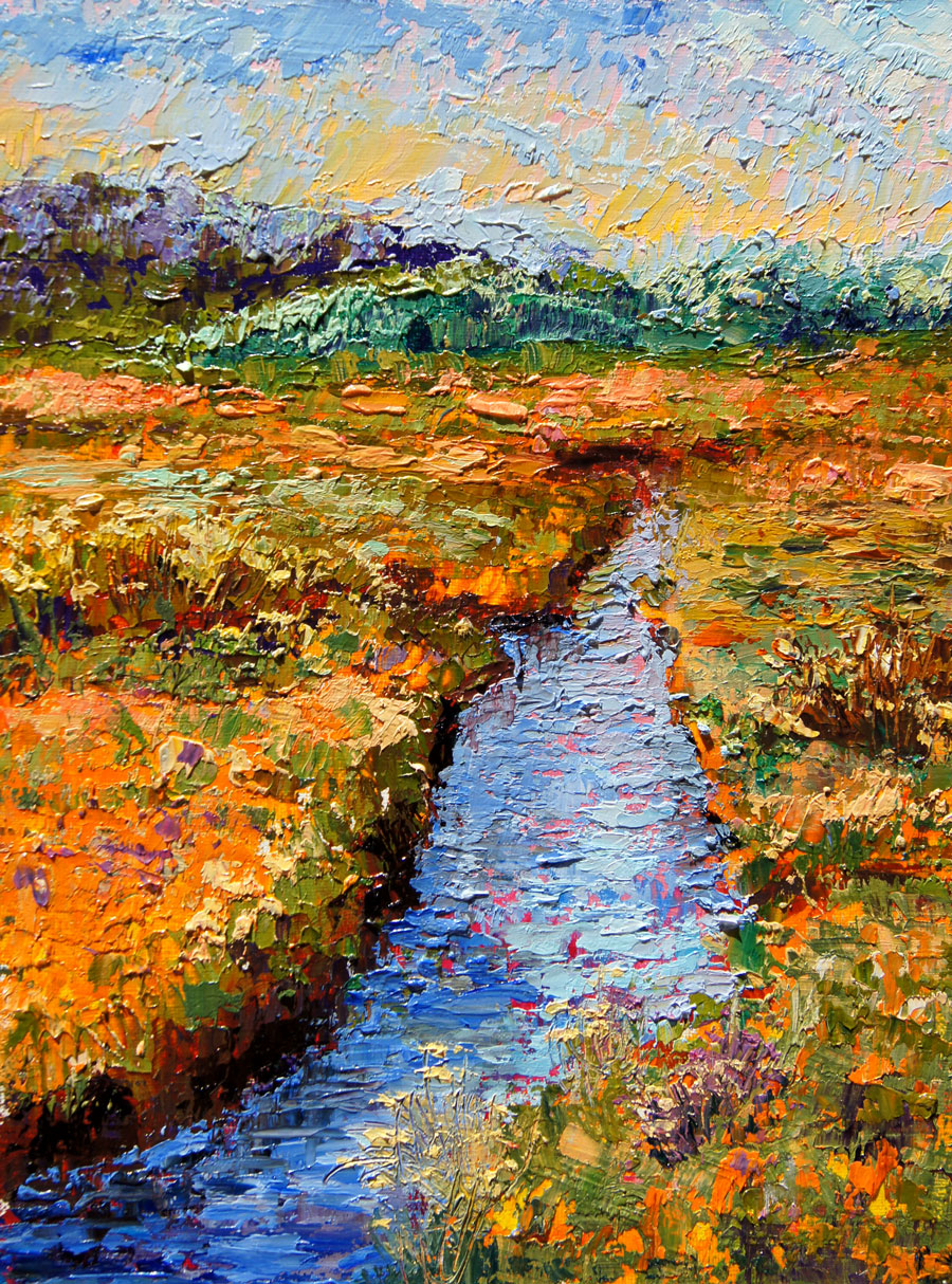 Palette Knife Painters Golden Marsh Oil Painting By Marion Hedger