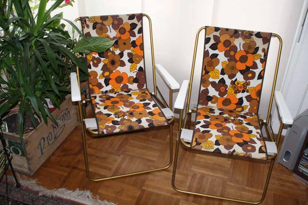 2 Chaises Camping Vintage Motifs Fleurs Marque Lafuma Pliantes