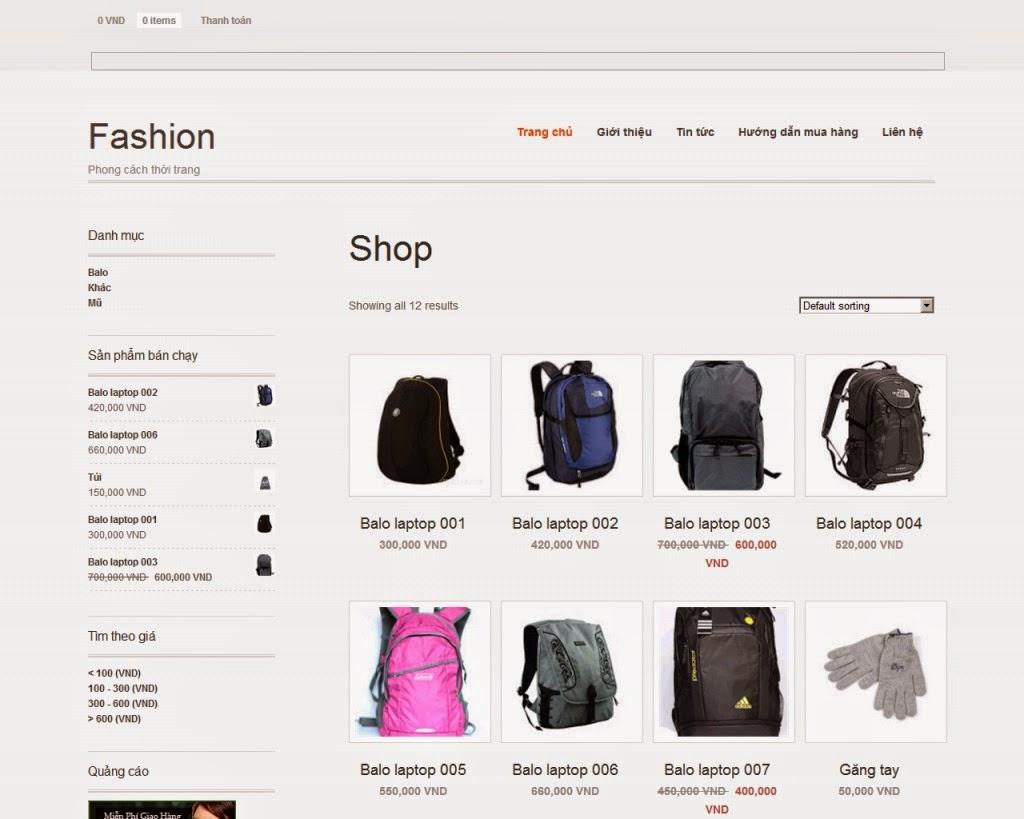 thiết kế website bán hàng túi xách chuyên nghiệp
