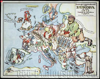 Gedrängte Frühjahrsübersicht von Europa im Jahre 1915. Mataßtab bis auf welteres 3 gegen 7
