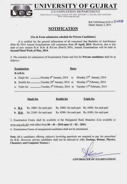 University of Gujrat B.A*B.Sc Part 1-2 Date Sheet 2014