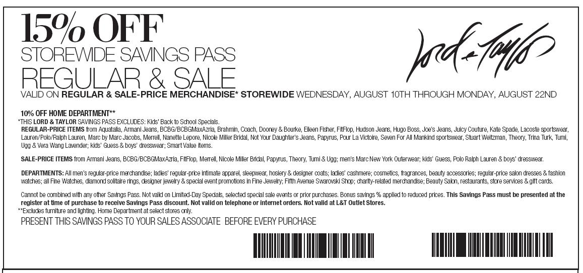 Lord & taylor coupons in store