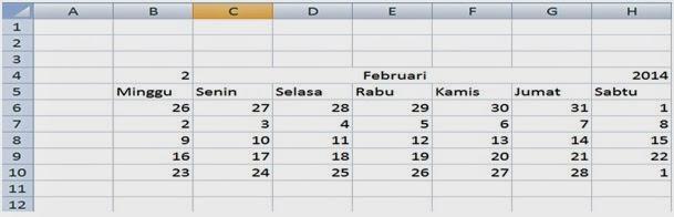 Hasil pembuatan kalender bulan Februari 2014 di Excel
