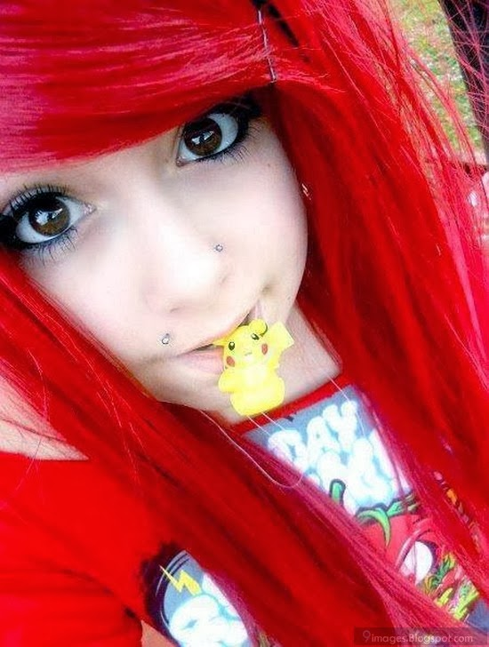 With hair red girl cute