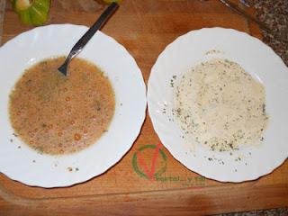 Preparar dos platos con los ingredientes del rebozado.