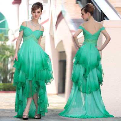 Green Off the Shoulder Asymmetric Floor Length Dress