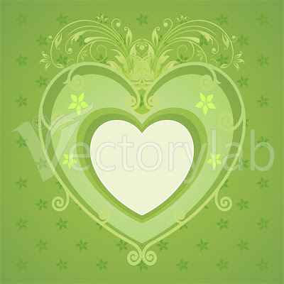 Green Floral Love Vector Design