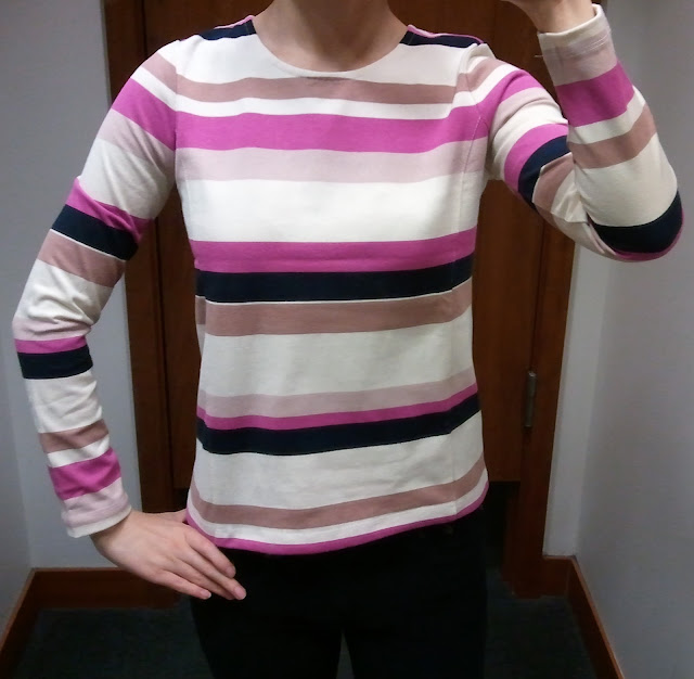 J.Crew Colorblock Top in Stripe in Fuchsia Stripe
