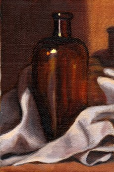 Oil painting of an antique brown glass medicine bottle nestled amongst the folds of a white tea towel.