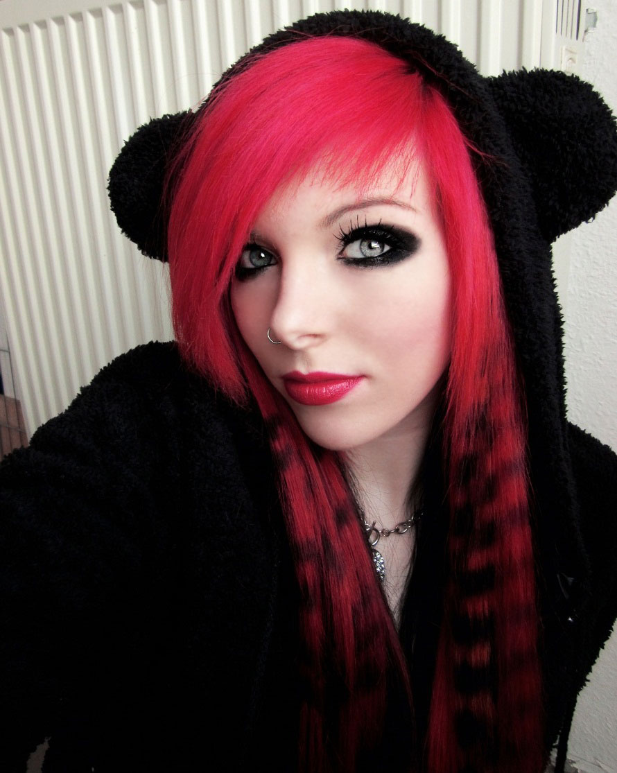 Think, that Black emo girl with red hair thought differently