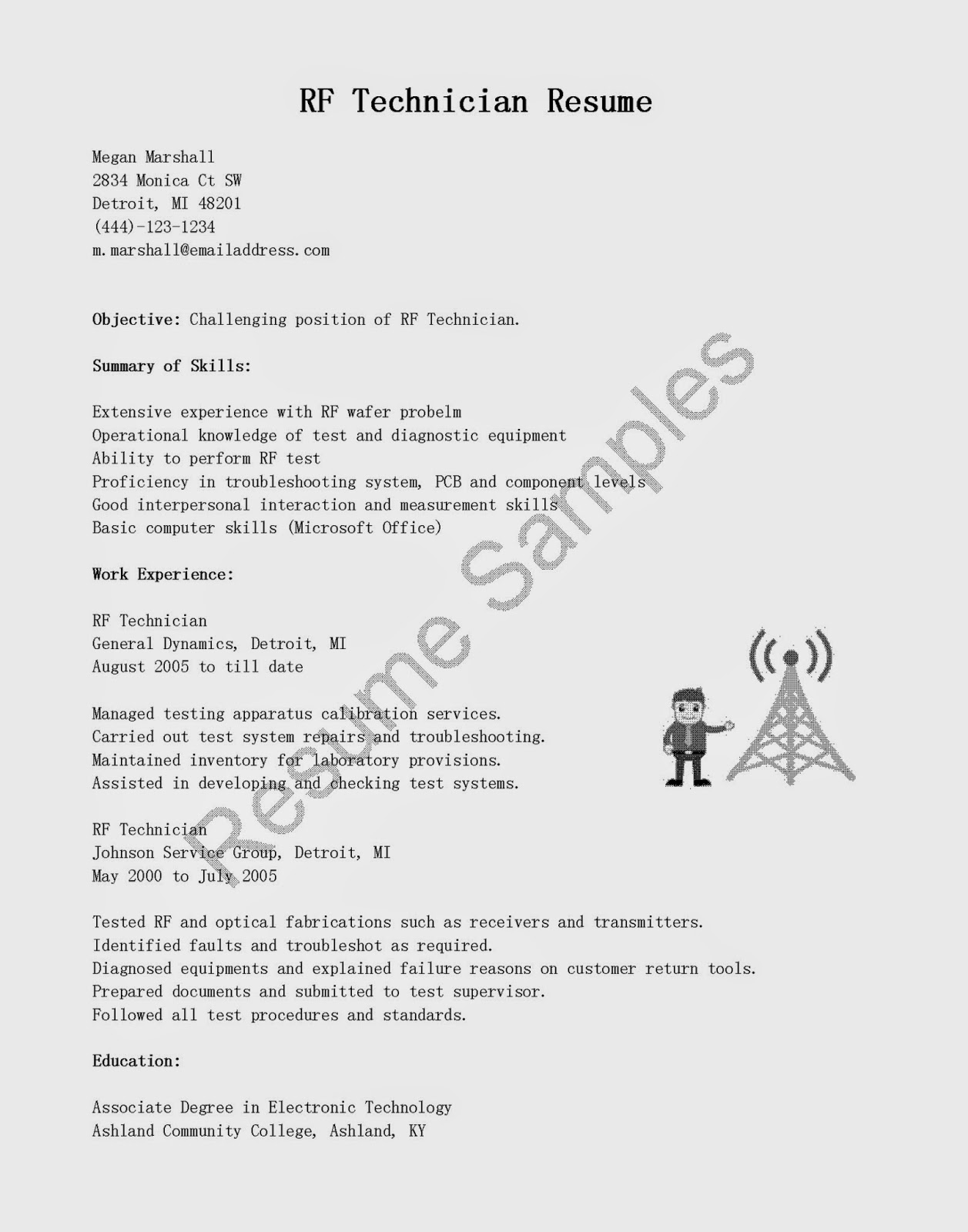 resume samples  rf technician resume sample