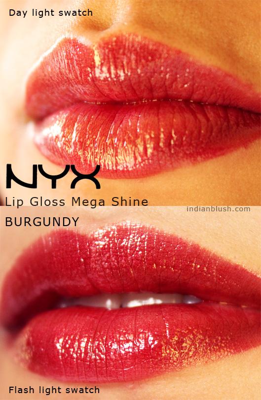 NYX Lip Gloss with Mega Shine  BURGUNDY Swatches
