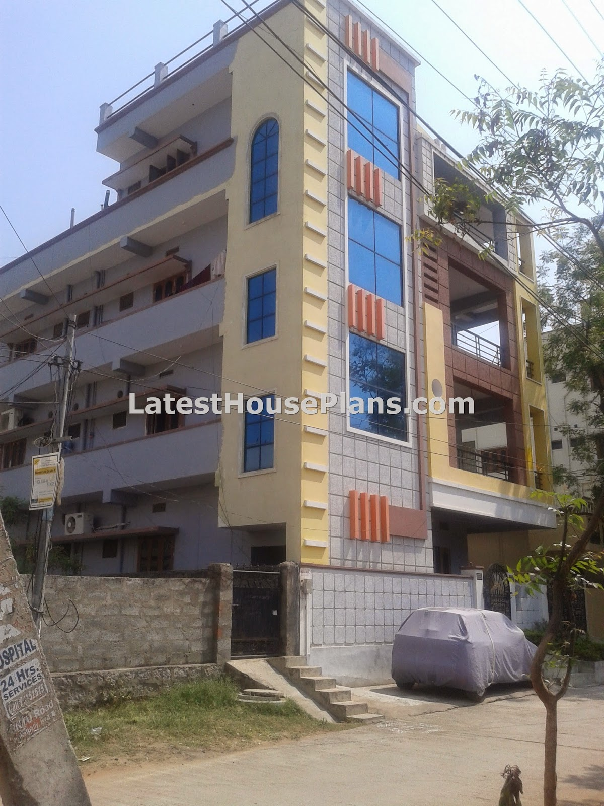 Rectangle shape 3 floor building outer steps elevations for 3 storey building front elevation