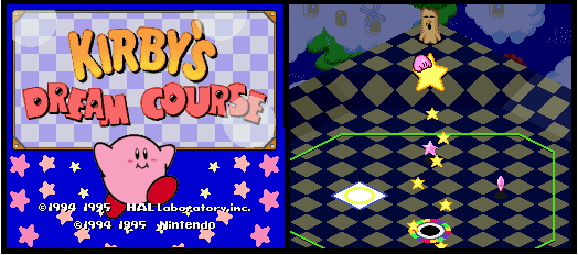 Title screen of Kirby's Dream Course and screenshot of gameplay