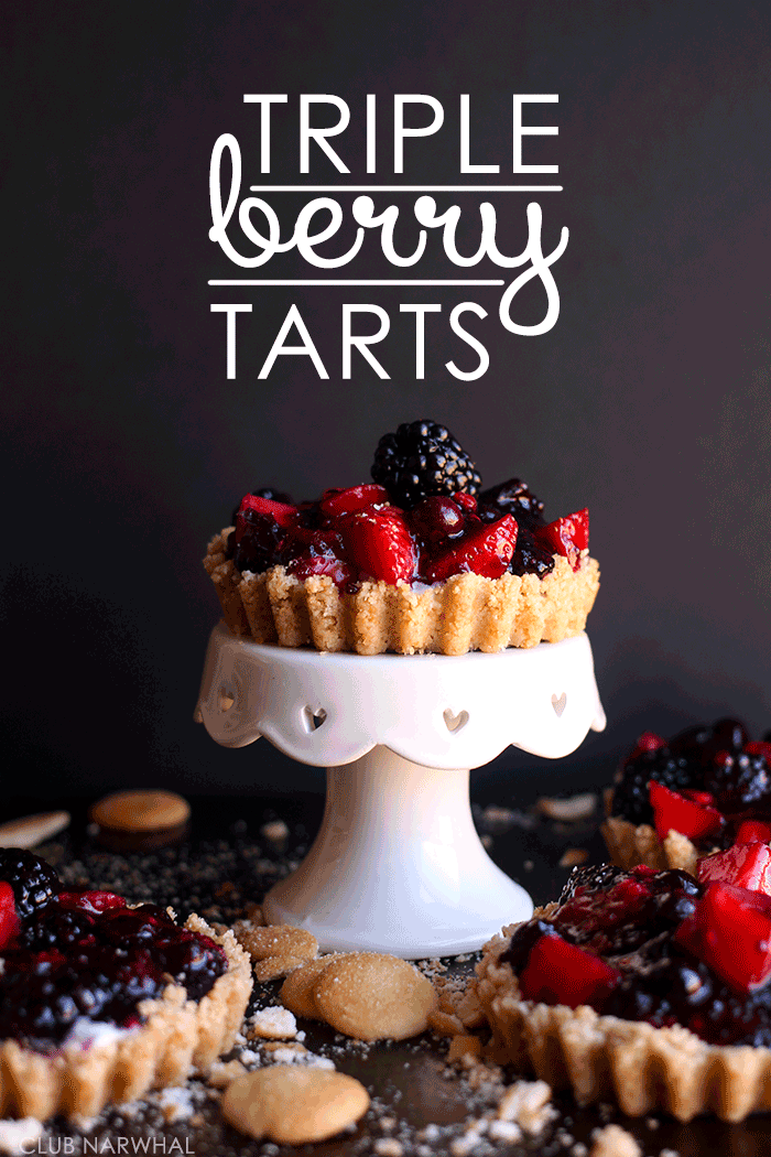 Triple Berry Tarts | A fresh, easy dessert for spring via Club Narwhal