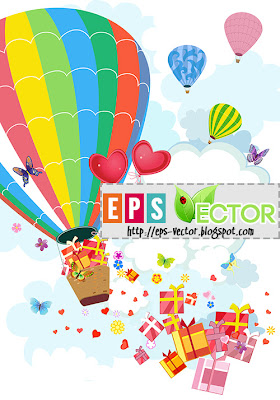[Vector] - Air Balloon greeting card